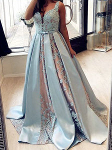 Straps Light Blue Satin V-neck Lace Appliques Ball Gown Prom Dress OP304