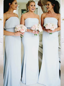 Light Blue Strapless Mermaid Backless Bowknot Fishtail Bridesmaid Dresses OB162