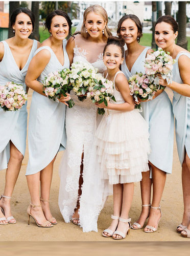 Light Blue V-Neck Sheath Asymmetry Ruched Short Bridesmaid Dresses OB146