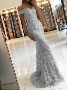 Light Grey Mermaid Off-the-Shoulder Lace Prom Dress With Appliques OP368