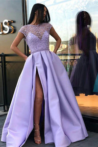 Lilac Long Prom Dresses with Beading, Cap Sleeves Slit Evening Dress OP614