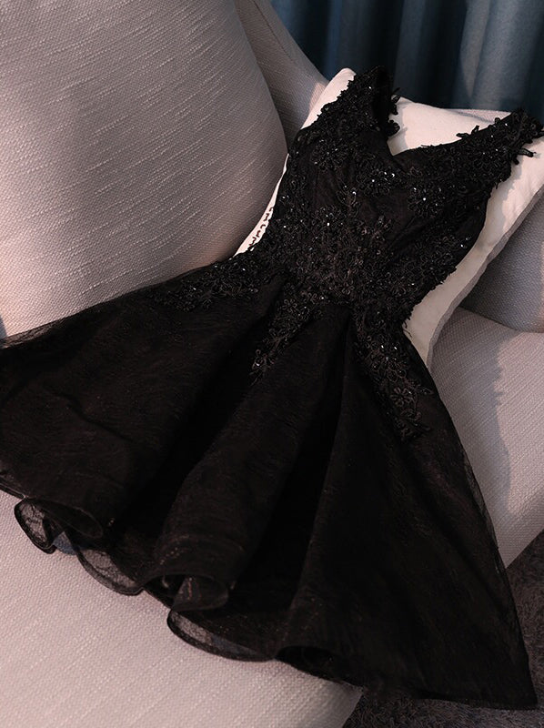 V-neck Little Black Homecoming Dresses With Lace Up Back, OM122