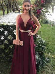 Long Burgundy Prom Dress A-Line Spaghetti Straps with Waist Beading OP394