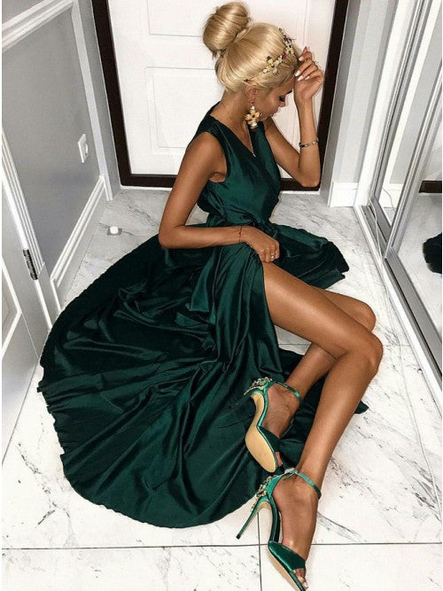 Dark Green A-Line V-Neck Satin Long Prom Dress with Split, OP185