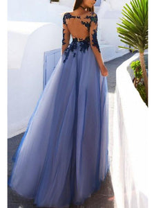 Long Sleeves See Through Open Back Tulle Long Prom Dress With Lace Applique OP287