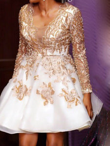 Long Sleeve V-neck Applique Short Party Dress With Pearl, OP212