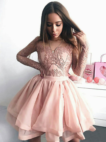 A-Line Illusion Jewel Lace Applique Pink Long Sleeve Graduation Dress, OP154