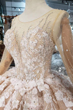 Luxury Long Sleeves Wedding Dress with Pearls Appliques Formal Ball Gown OW407