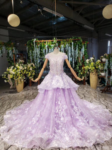 Lilac Quinceanera Dresses Ball Gown Vintage Wedding Dress With Appliques Beading PO326