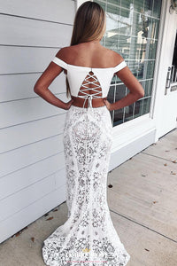 Mermaid 2-piece Lace Prom Dress Long Off-Shoulder Evening Dress OP623