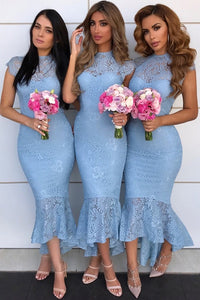 Modest Mermaid Asymmetric Lace Blue Bridesmaid Dresses OB179