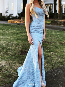 Mermaid Backless Blue Prom Dresses Lace Appliques Evening Gown OP512
