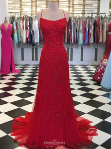 Mermaid Backless Burgundy Prom Dress Lace Appliques Evening Gown OP573