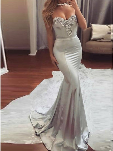 Mermaid Beading Evening Dress Silver Fishtail Prom Dress OP365