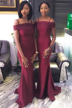 Mermaid Burgundy Bridesmaid Dresses Off Shoulder Wedding Party Dress OB175