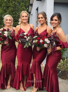 Mermaid Burgundy Bridesmaid Dresses V-neck Asymmetry Ruffles OB201