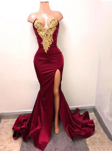 Mermaid Gold Applique Burgundy Prom Evening Gowns With Split OP459