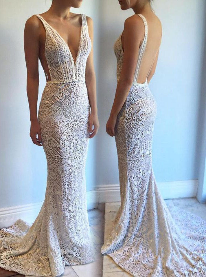 40f63b01a1f Mermaid Lace Wedding Dresses Sexy Backless Long Beaded Bridal Gowns OW354  ...