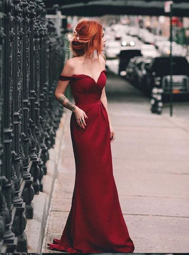 Mermaid Long Prom Dress Burgundy Off the Shoulder, Simple Formal Dress OP306