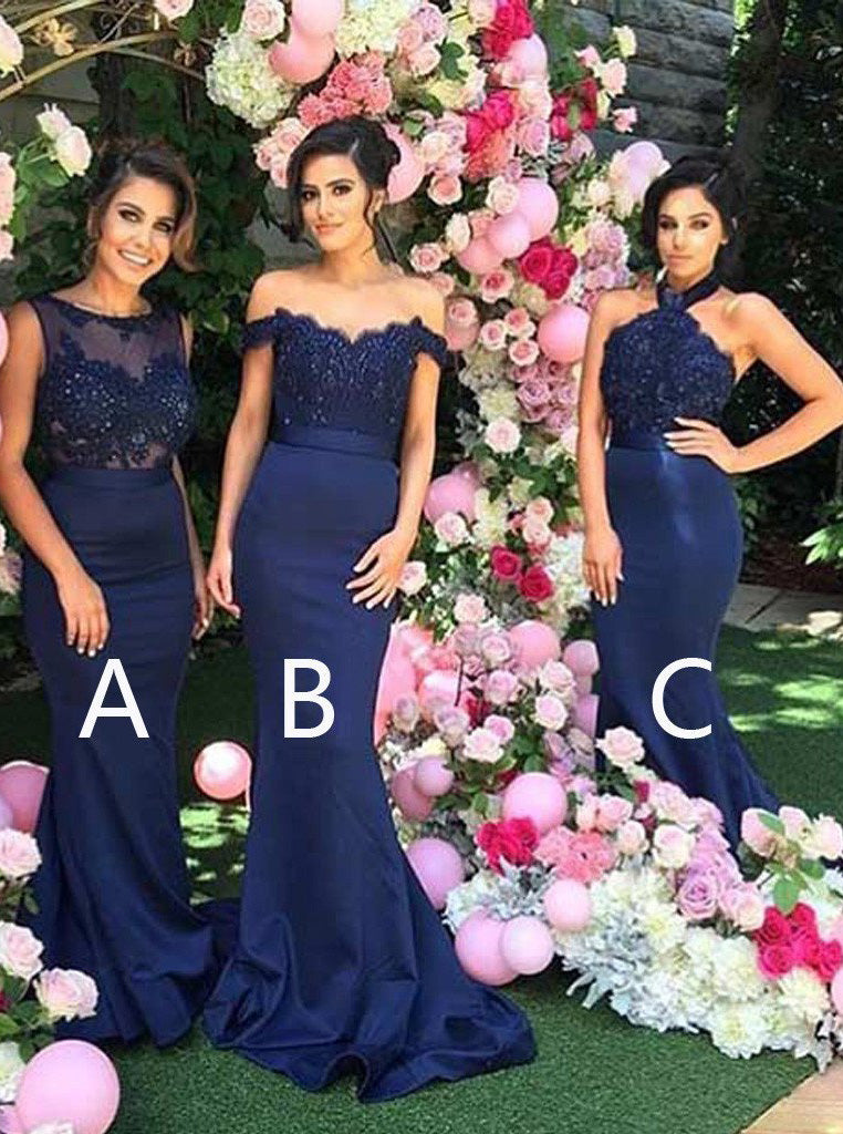 Mermaid Navy Blue Bridesmaid Dresses A/B/C Styles Appliques Beading OB177