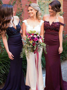 Mermaid Off the Shoulder Satin Burgundy/Navy Bridesmaid Dresses OB203