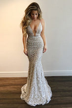 Mermaid Plunging neckline Lace Backless Prom Dress with Sequins OP516