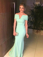 Mermaid Prom Dresses Mint Green V Neck Off The Shoulder Party Dress OP420