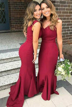 Mermaid/Trumpet V-Neck Satin Burgundy Bridesmaid Dresses With Ruffles OB158