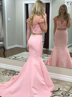 Off-Shoulder Two Piece Floral Beading Long Prom Dress, Pink Mermaid Graduation Dress OP300