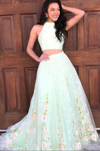 Halter Two Piece Floral Long Prom Dresses, A Line Graduation Dresses OP298