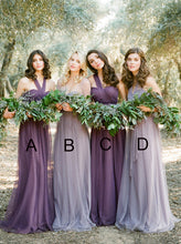 Mismatched A/B/C/D Chiffon Convertible Long Bridesmaid Dresses OB163