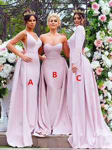 Mismatched A/B/C Mermaid Overskirt Pink Bridesmaid Dresses OB166