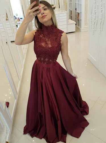 Modest High Neck Prom Dresses Burgundy A Line Lace Applique OP579