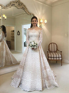 Modest Lace Bridal Gown Off-the-Shoulder Long Sleeves Wedding Dress OW369