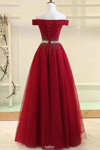 Modest Off-Shoulder A-Line Tulle Prom Formal Dress With Beading OP531