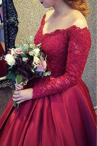 Modest Off the Shoulder Lace Burgundy Ball Gown Long Prom Dress With Long Sleeves OP349