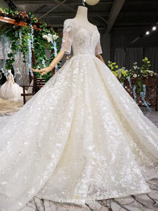 Modest Princess Ball Gown Wedding Dress With Half Sleeves OW413