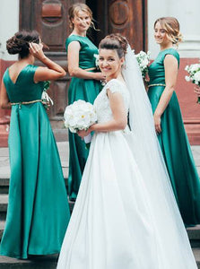 Modest Scoop Long A-Line Satin Green Bridesmaid Dresses OB186