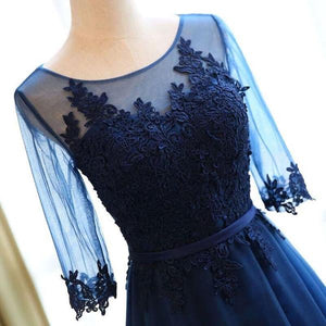 Modest Scoop Neck Dark Blue Long Prom Dresses With Sleeves OP624