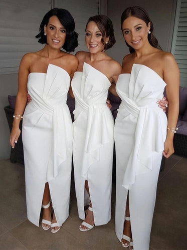 Modest Sheath Ruffles Satin Beach Peplum Long White Bridesmaid Dresses With Split, OB151