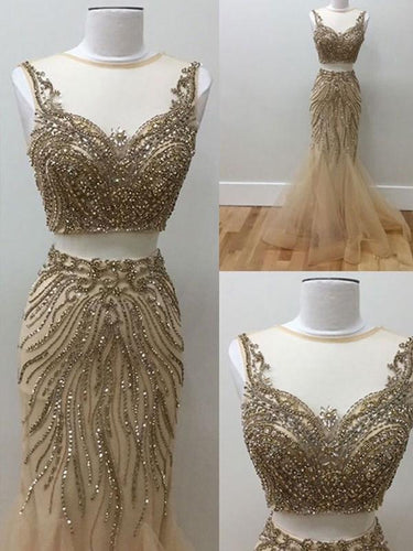 Modest Sheer Scoop Beading Two Piece Long Mermaid Prom Dress OP301