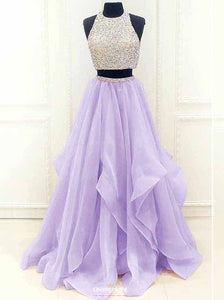 Modest Two Piece Beading Prom Dress, Organza Graduation Gown With Ruffles OP545
