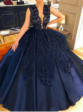 Navy Blue Ball Gown Prom Dress Plunging Neckline with Appliques OP584