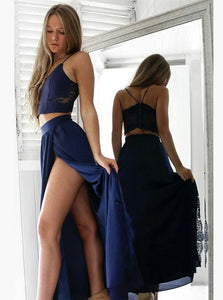 Navy Blue Simple Prom Dress Two Piece Spaghetti Straps with Slit OP631