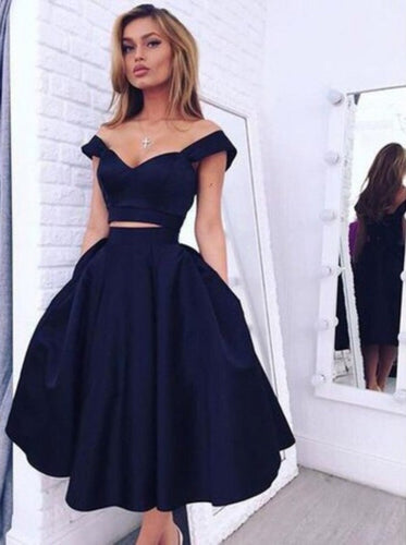 Dark Navy Two Piece Off-the-shoulder Mid-Calf Prom Dress, OP195