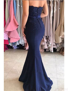 Sweetheart Lace Appliques Mermaid Prom Dresses, Navy Bridesmaid Dresses, OP202