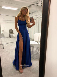 Simple Royal Blue Long Prom Dresses Satin Split Evening Party Gowns OP511