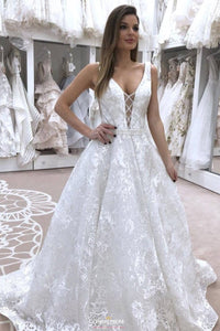 New A-Line V-neck Sleeveless Wedding Dress with Beading OW387