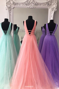 New Deep V-Neck Solid Tulle A-line Long Prom Dress With Beading OP547