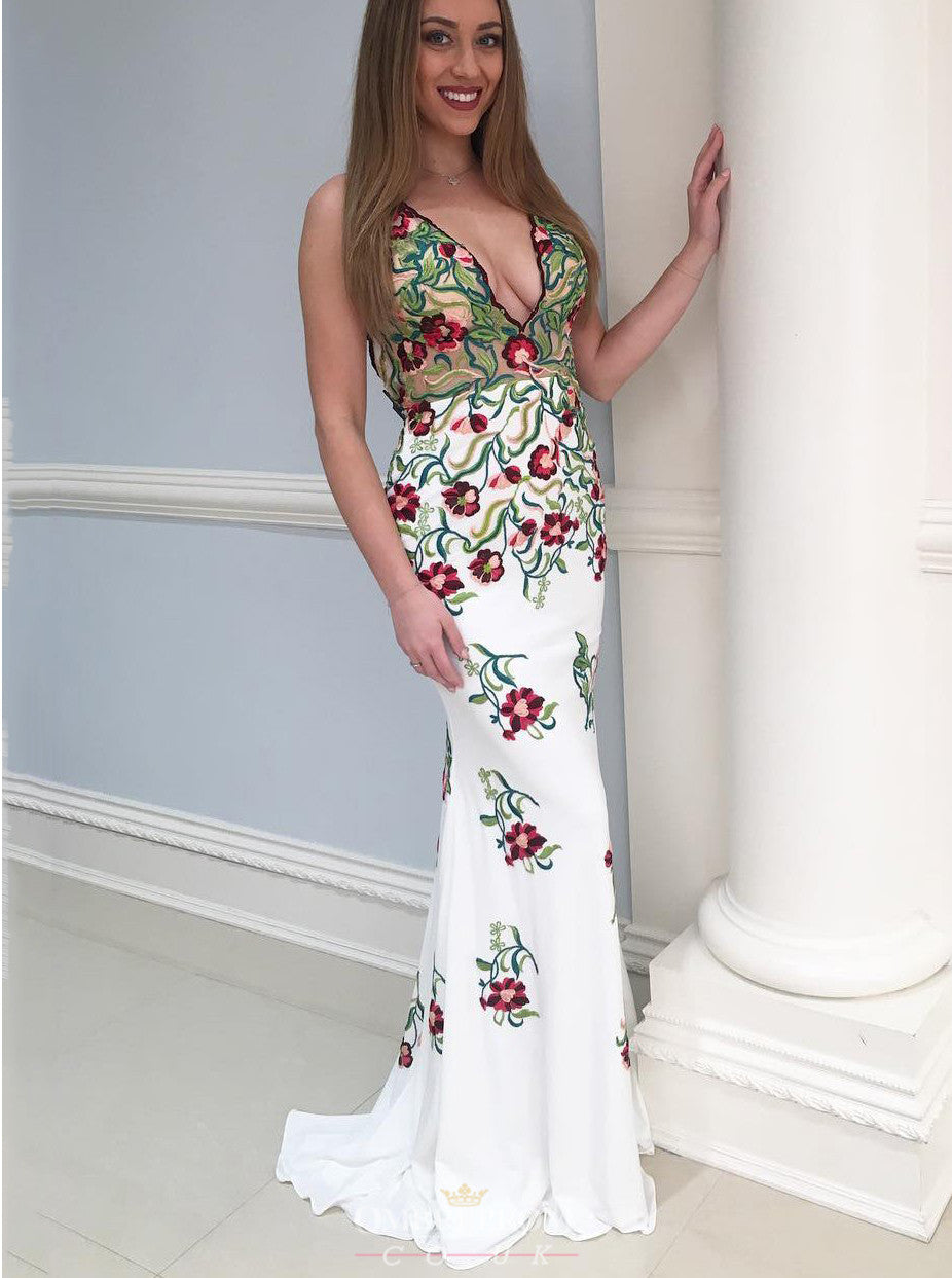 New Embroidery Floral Mermaid Backless Prom Dress Evening Gown OP645